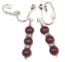 BLACKBERRY Pearl Earrings Swarovski Crystal Elements Sterling Silver Dangle