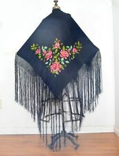shawl silk scarf embroidered piano throw  large fringe 46 in. square  antique