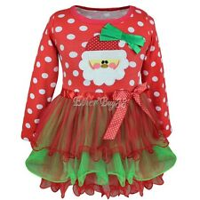 Christmas Santa Newborn Kid Girl Polka Dot Tulle Tutu Dress Party Outfit Costume