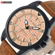 Fashion Date Day Brown Leather Band Waterproof Sport Quartz Mens Wrist Watch New
