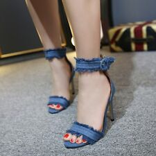Open Toe High Heels Sandals Ankle Strap Stilettos Buckle Solid Women Party Shoes