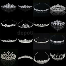 Crystal Silver Tiara Crown Hairpiece Rhinestone Wedding Pageant Bridal Headband