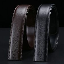 Mens Black Brown Genuine Leather No Automatic Buckle Strap Waist Belts Waistband