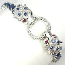 AWESOME TOP RICH BLUE SAPPHIRE,RUBY,WHITE CZ STERLING 925 SILVER TIGER BRACELET
