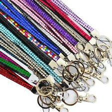 1 PC Bling Lanyard Rhinestone Diamante Crystal Neck ID Card Mobile Holder