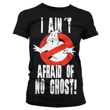 Official Ladies Ghostbusters Afraid of No Ghost Logo Black T-Shirt - Womes Tee