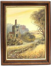 Lovely Original Stone Building In Countryside Canvas Oil Painting In Frame - H46