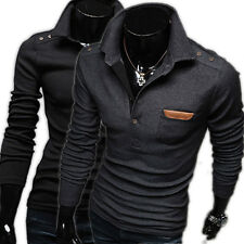 Mens New Slim Fit Leather Pockets Long Sleeve Casual T-shirt Polo Shirt Tee Tops