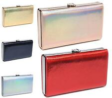 LADIES SMALL METALLIC CLASP EVENING PARTY WEDDING BRIDAL CLUTCH BAG