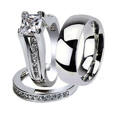 3 Pcs His & Hers Stainless Steel Wedding Engagement Matching Ring Band Set
