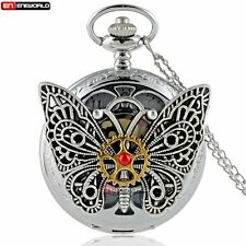 Gold Dial Gear Petal Butterfly Vintage Pocket Watch Chain Necklace Gift Box New