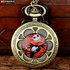 Petal The Nightmare Before Xmas Quartz Necklace Vintage Pocket Watch Chain Gift