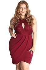 DEALZONE Sexy Floral Lace Dress 1X 2X 3X Women Plus Size Burgundy Casual USA