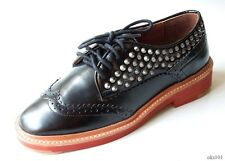 new Pour La Victoire Mayah black calf leather STUDDED SPIKE wing tip flat shoes