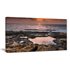 Design Art Rocky African Coastline Sunset Photographic Print on Wrapped Canvas