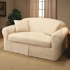 Madison Home Microsuede 2-Piece Box Cushion Loveseat Slipcover
