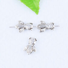 Antique Silver Fish Charms Beads Goldfish Spacer Beads Jewelry DIY Finding 15mm