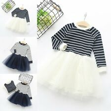 Baby Girls Dress Striped Mesh Princess Kids Party Pageant Tulle Tutu Dresses