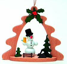 Snowman German Wood Christmas Tree Ornament Decoration Made in Germany New