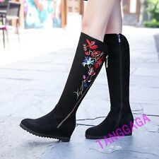 Embroidered Womens Chinese Style Casual Zipper Hidden Wedge Heel Knee High Boots