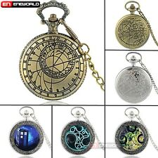 Space Time Police Box Gallifrey Vintage Pocket Watch Quartz Necklace Chain Gift