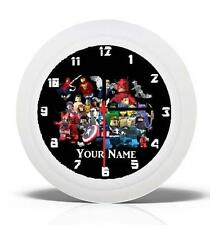 BRAND NEW  WALL CLOCK LEGO MARVEL SUPERHEROES CAN BE PERSONALISED NEW FREE P&P