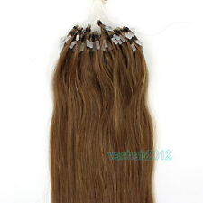 100s Silicone Micro Ring Beads Easy Loop Remy Human Hair Extensions Light Brown