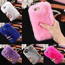 Phone Back Case Cover Ultra Luxury Warm Furry Rabbit Fur For iPhone 6S 7/Plus