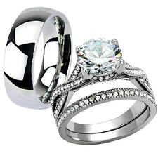 His Hers 3.15 Ct Stainless Steel Infinity Wedding Engagement Matching Rings Set