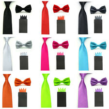 Men Solid Satin Thin Necktie Bowtie Pre-folded 4 Folds Pocket Square Hanky Set