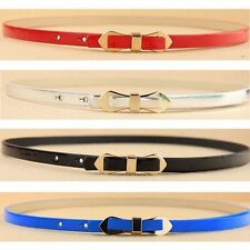 Fashion Women Thin Skinny Bow Gold Metal Buckle Faux Leather Waistband Belt