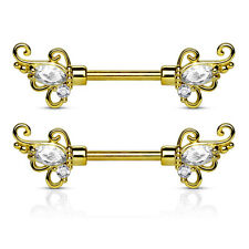 """Pair of CZ Floral 14K Gold Plated Surgical Steel Nipple Rings Barbells 14g 1/2"""""""