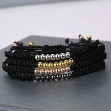 7 Beads Women Men Unisex Jewelry 18k Pave Macrame Charms Bracelet Braided Bangle