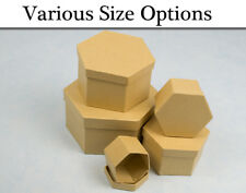 Paper Mache Hexagon High Stacking Boxes with Lids to Decorate - Choice of Size