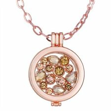Luxury Rose Gold  MY Coin Crystal Disc Floating Charm Locket Necklace Chain Gift