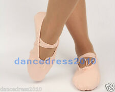 New Pink Adult Ladies Soft Split-Sole Canvas Ballet Dance Shoes Slippers SZ5-8.5
