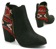 WOMENS LADIES BLACK AZTEC PRINT MID HEEL COWBOY ANKLE BOOTS SHOES SIZE 3-8