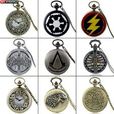 Steampunk Antique Pocket Watches Vintage Necklace Chain Pendant Quartz Classic