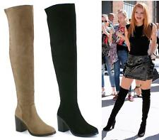 LADIES WOMENS THIGH HIGH OVER THE KNEE PLATFORM HIGH HEEL STRETCH BOOTS SIZE 3-8