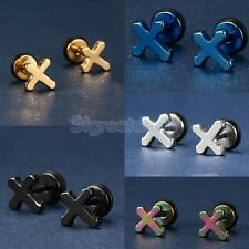 Fashion Unisex Stainless Steel Punk Cross Ear Studs Earrings Jewelry