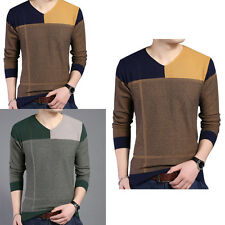 Fashion Men's Slim Long Sleeve V-neck Splicing Pullover Casual Knit Sweater