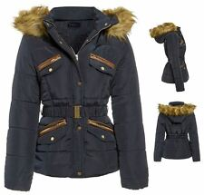 New Womens Girls Padded Quilted Faux Fur Lined Roma Parka Jacket Coat