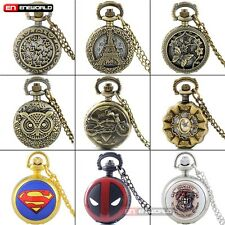 Steampunk Vintage Pocket Watch Chain Necklace Small Pendant Quartz Retro Gift UK