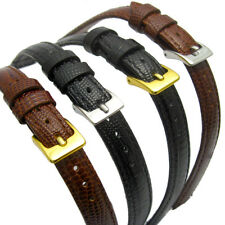 Extra Long XL Leather Watch Strap Band Lizard Grain (Flat Profile)10mm 12mm 14mm