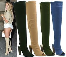 WOMENS LADIES THIGH HIGH BOOTS PEEPTOE CANVAS OVER THE KNEE CELEB BLOCK HEELS