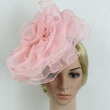 Women Ladies Fascinator Large Flower Veil Hat Hairband Wedding Party Costume