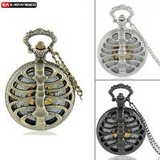 Antique Spine Rib Retro Pocket Watch Necklace Chain Quartz Pendant Vintage Gift