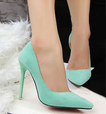 Pointed Toe Slim High Heel Women Shoes Stilettos Suede Solid Party Work OL Pumps