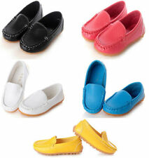 Boys Girls Kids Baby PU Leather Boat Sneakers Oxford Flat Shoes Slip On Loafers
