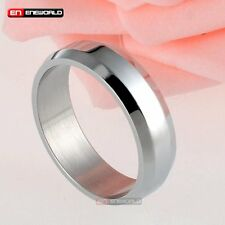 Fashion Ring Jewelry 6mm Stainless Steel Couples Silver Women Wedding Engagement